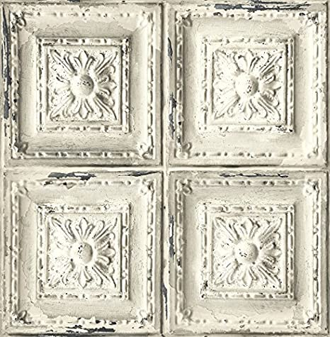 Distressed Ceiling Tile Wallpaper White Grey