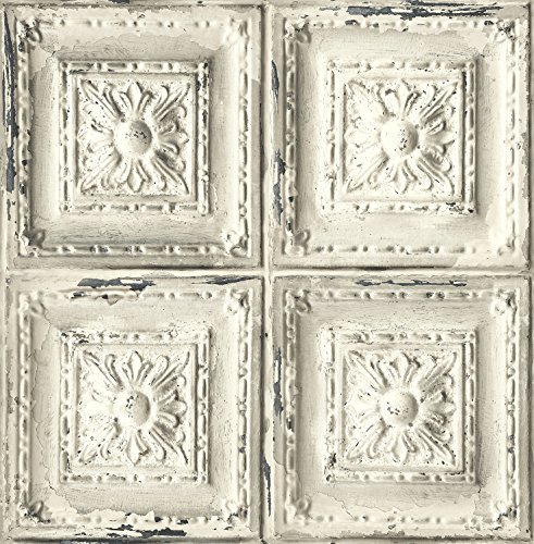 (Distressed Ceiling Tile Wallpaper. (White & Grey))