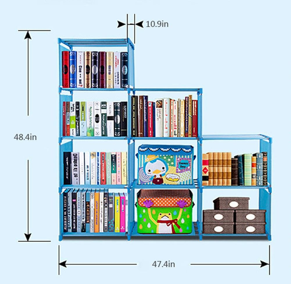9-Cube Bookcase 4 Layers Adjustable Cube Bookcase for Kids Children, US STOCK (PINK)