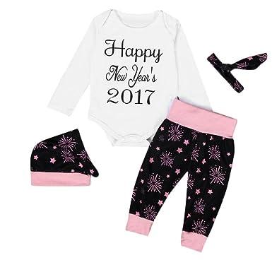 715d7abfc Amazon.com  Gotd 4pc Newborn Baby Happy New Years 2017 Romper Pants ...
