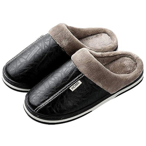 tqgold Pantofole Uomo Donna Invernali Ciabatte Calde Scarpe Autunno Inverno  Nero 33 34 1b4275feac7