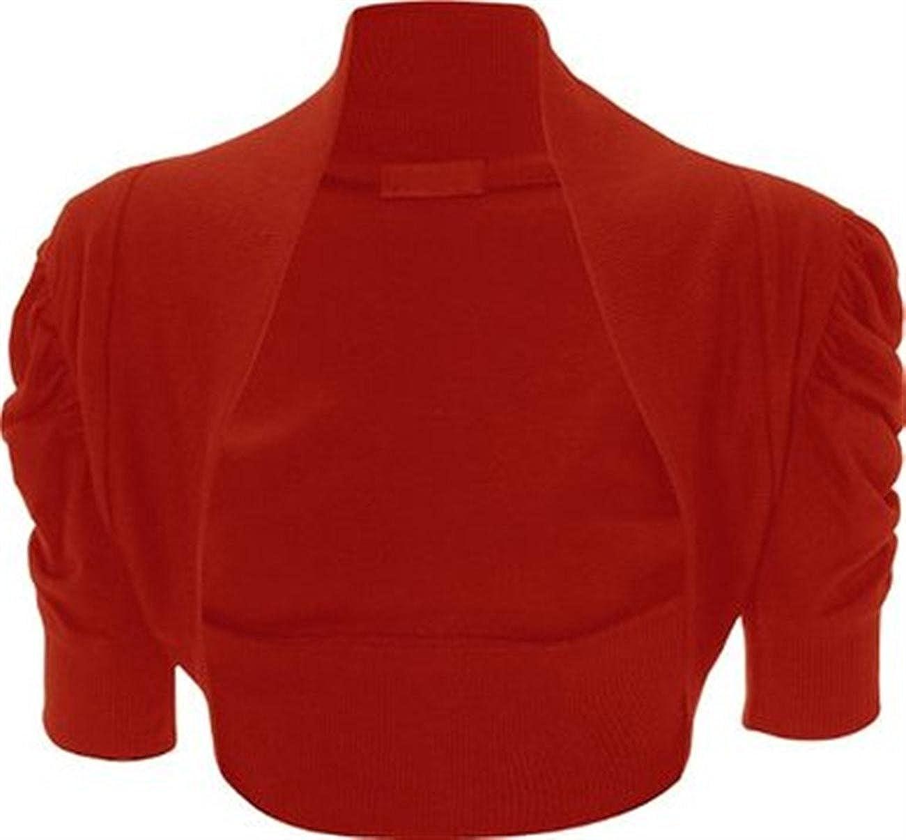 Womens Plus Size Shrug Bolero Ruched Sleeve Crop Cardigan at ...