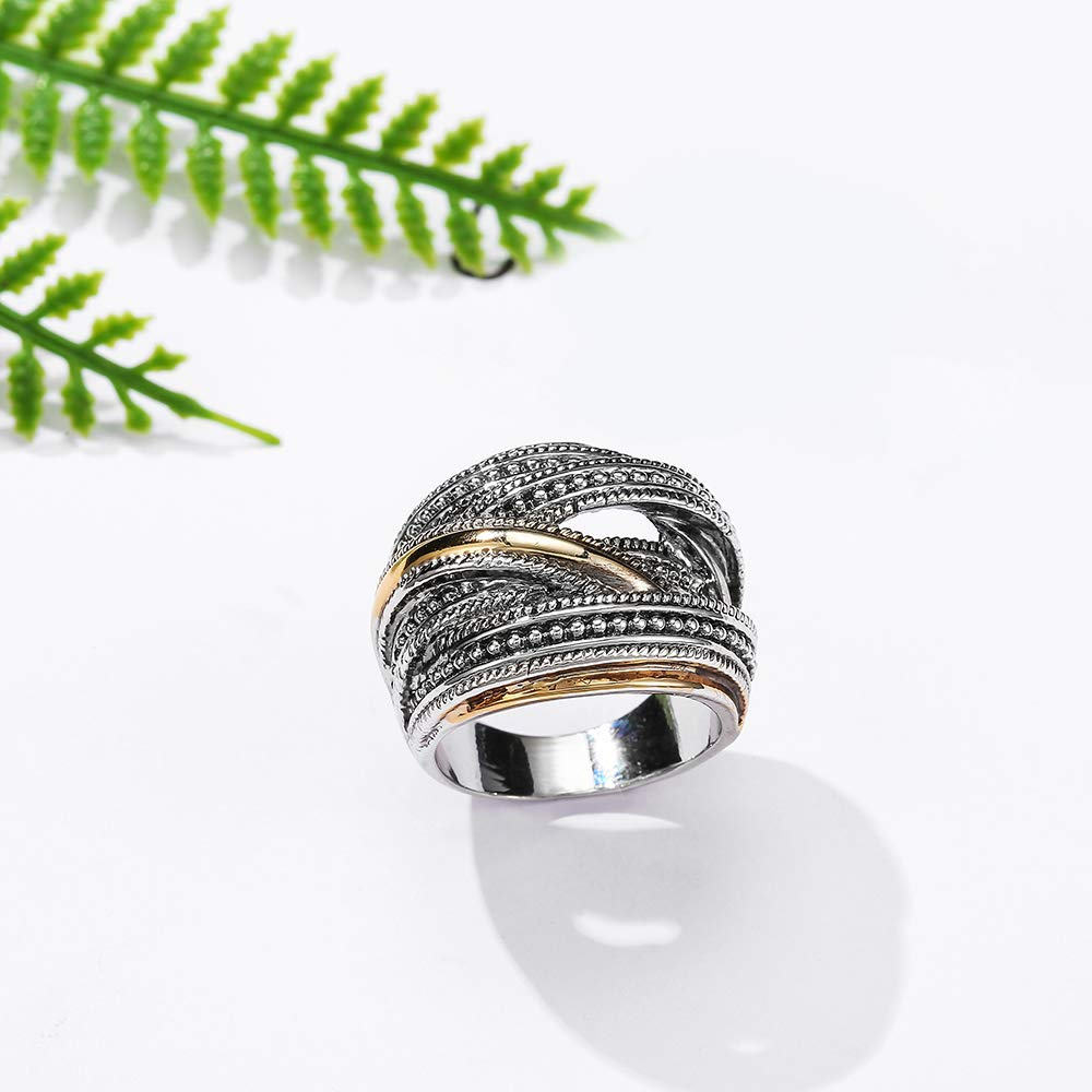 dnswez Intertwined Rings Vintage 2 Tone Punk Ring Chunky Oxidized Twine Wide Band Women Men Size:10