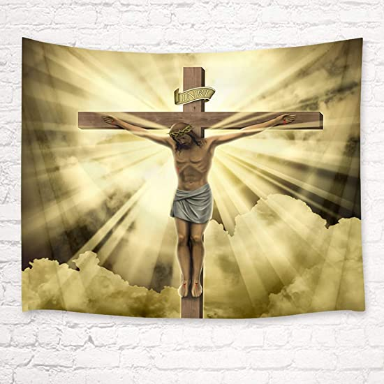 HVEST Jesus Christ Crucifix Tapestry Wall Hanging Christian Cross Wall Hanging Holy Crucifix Tapestries for Bedroom Living Room Dorm Party Decor, 92.5Wx70.9H inches