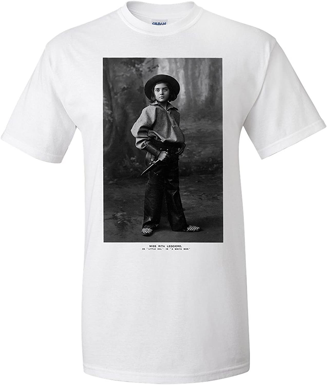 Cowgirl Portrait - Miss Rita Leggiero Holding a Knife (Premium T-Shirt): Amazon.es: Ropa y accesorios