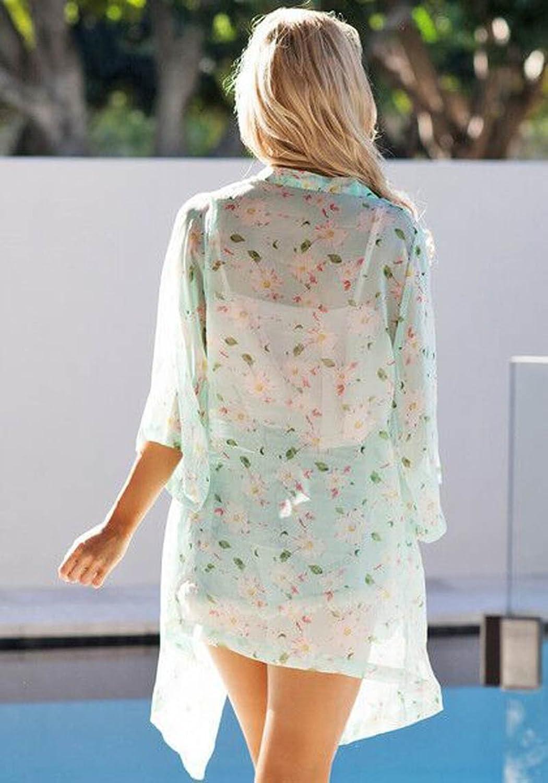 Culater® Frauen Damen Sommer Blumenmuster Gallus ärmellos rückenfrei Kleid weiß