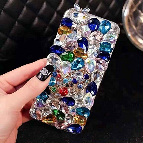 iphone 7 Plus Case, LU2000 3D Crystals Gem Sparkle Jeweled Bling [Heart Series] Phone Hard Cover Back Case for Iphone 7+ / 7 Plus(5.5 inch) - Pattern NO.7: Blue Theme -