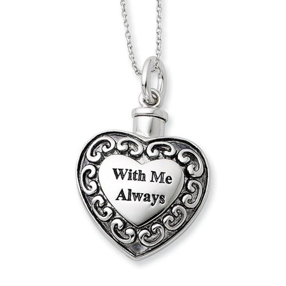 Sterling Silver Rhodium Plated Cremation Jewelry Memorial Urn Ash Holder Heart Pendant Necklace ''With Me Always''