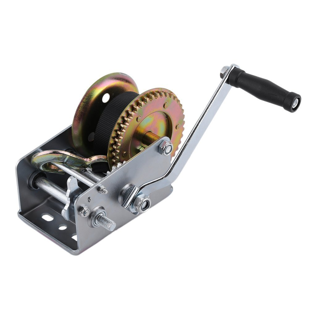 KinshopS Manual Hand Winch With Webbing Sling 2500lbs Boat Trailer Caravan 6M 19ft Strap Length Hand Winch Marine Puller Hand Tool Lifting Sling