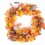 50cm Berry Maple Leaf Fall Door Wreath Door Wall Ornament Thanksgiving Day