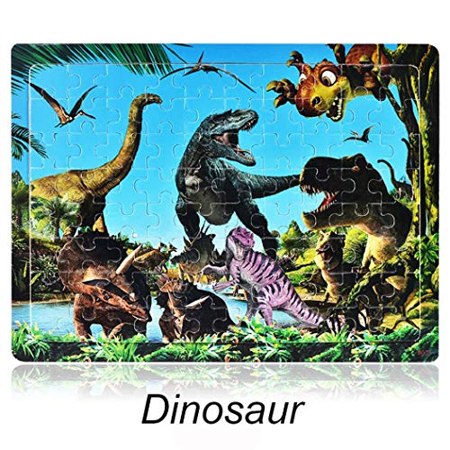 Roysberry Toys - 80PCS Kids Puzzles Toys Dinosaur World 3D Puzzle Shape Color - Birthday Gift Christmas Halloween Toy Jigsaw Puzzles for Kids Ages -