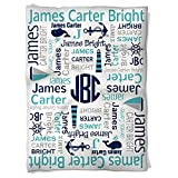 Have Faith Boutique Personalized Baby Blanket with Name- 30''x40''- Velveteen Fleece - Nautical