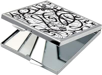 مرآة جيب، بتصميم رسوم زخرفية ، شكل مربع