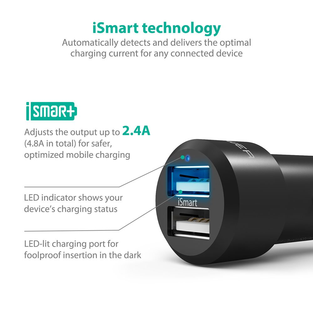 RAVPower Car Chargers 2-Pack 24W 4.8A Dual USB Car Adapter with iSmart 2.0 Charging Tech for iPhone X//8//8 Plus Galaxy S9//S8+//S7//S6//Edge and More Smartphones
