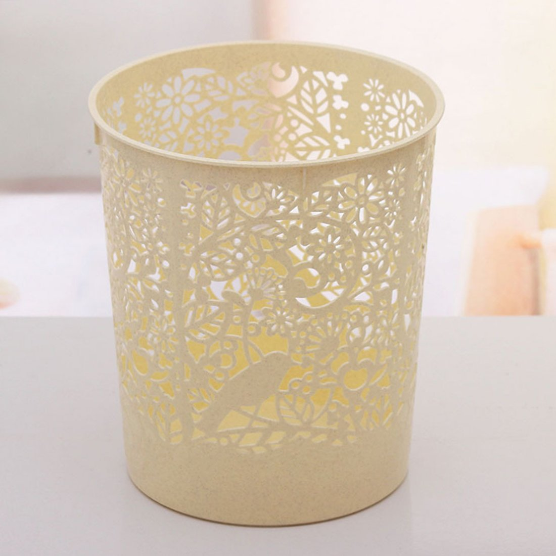 3pcs Waste Bins, XSHION Creative Hollowed-out Kitchen Trash Can Waste Paper Baskets Office Garbage Bins (3pcs Light Yellow)
