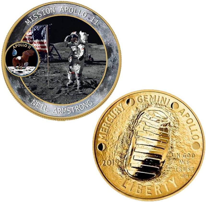 Premi/ère Personne sur la Lune A Volwco Pi/èce comm/émorative Apollo 11 pour 50e Anniversaire de Mariage avec Coque en Plastique