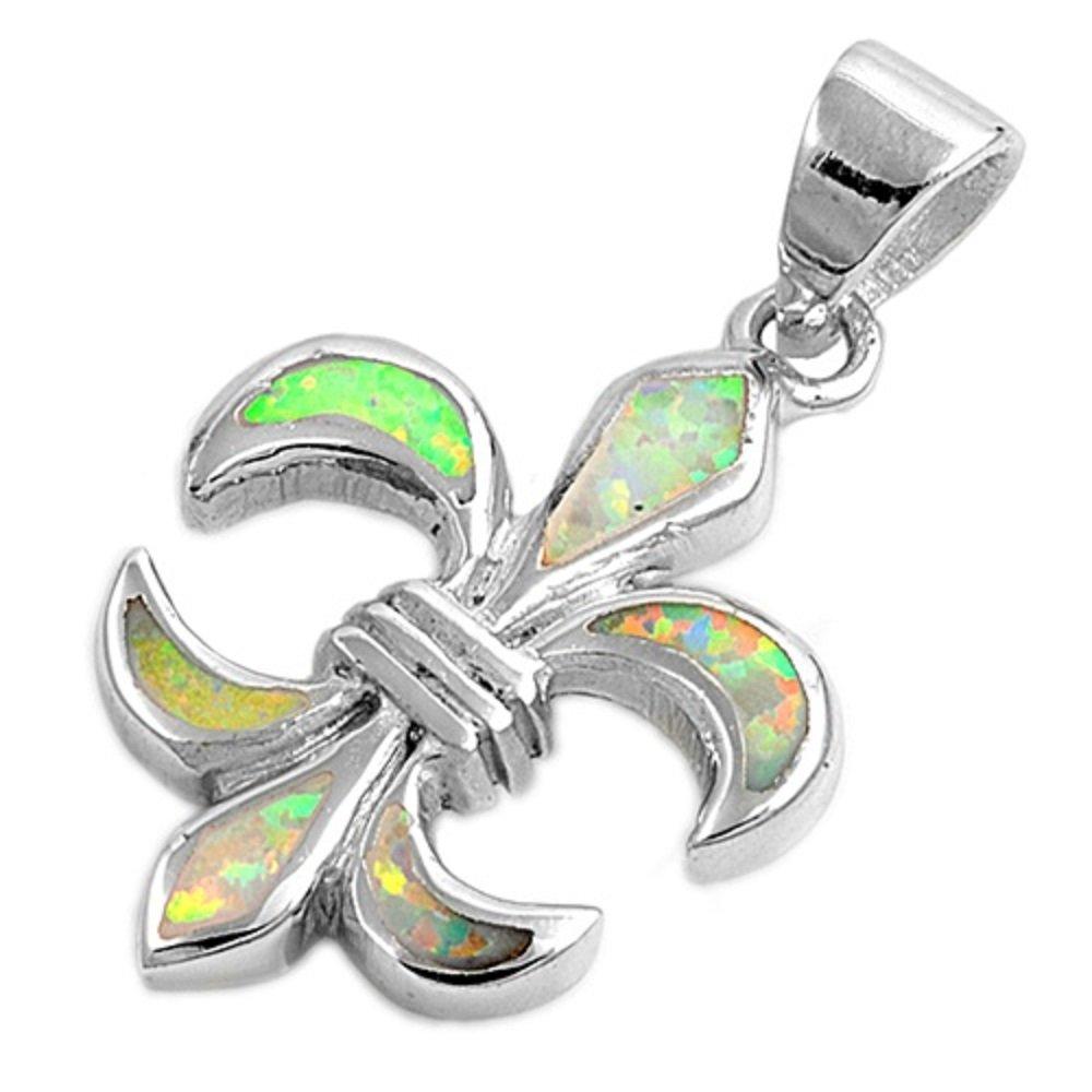CloseoutWarehouse Simulated Opal Fleur De Lis Pendant Sterling Silver