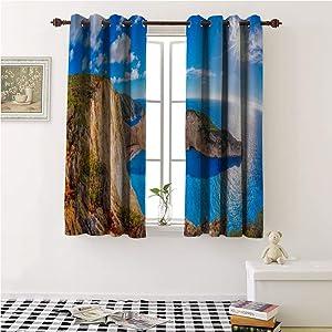 Iuvolux Kids Room Decor Grommet Curtains navagio Beach with Shipwreck Against Sunset on Zakynthos Island in Greece Curtain Holdback 108x96-inch