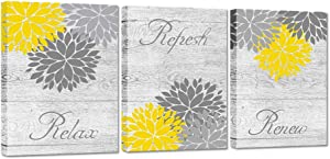 ZingArts 3 Pieces Yellow Gray Bathroom Wall Art Prints Dahlia Flowers Relax Refresh Renew Signs on Rustic Wood Background Stretched and Framed For Bedroom Living Room Ready To Hang 12