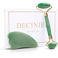 Deciniee Jade Roller and Gua Sha Tools Set - 100% Real Natural Nephrite Jade Roller for Face, Eye, Neck - Anti Aging…