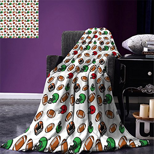(smallbeefly American Football Custom Design Cozy Flannel Blanket Cartoon Style Rugby Icons Balls American Culture Competitive Game Sports Lightweight Blanket Extra Big Multicolor)