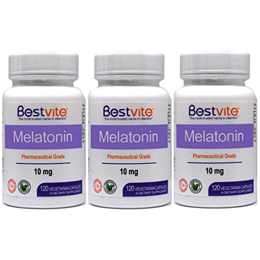Amazon.com: Melatonin 10mg (360 Vegetarian Capsules) (3-Pack) - No Stearates - No Flow Agents: Health & Personal Care