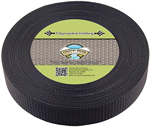 Country Brook Design 1 1/2 Inch Heavy Black Polypro Webbing, 700 Yards by Country Brook Design