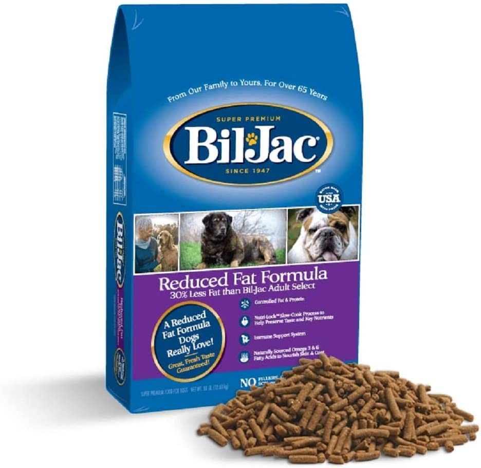 Bil-Jac Dry Dog Food Diet Adult Select Reduced Fat Formula Small or Large Breed 30 lb Bag - Super Premium Since 1947