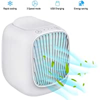 Hisome Air Cooler Fan, Mini Air Conditioner Portable, Touch Control 3 Fan Speeds USB Powered Personal Space Air Condition Cooler Desktop Mobile Air Conditioning Fan For Home Office Outdoor