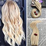 Moresoo 22 Inch Blonde Tape in Hair Skin Weft Invisible Hair Extensions Honey Blonde and Bleach Blonde 613 Highlights Remy Human Hair Products 100G 40PCS