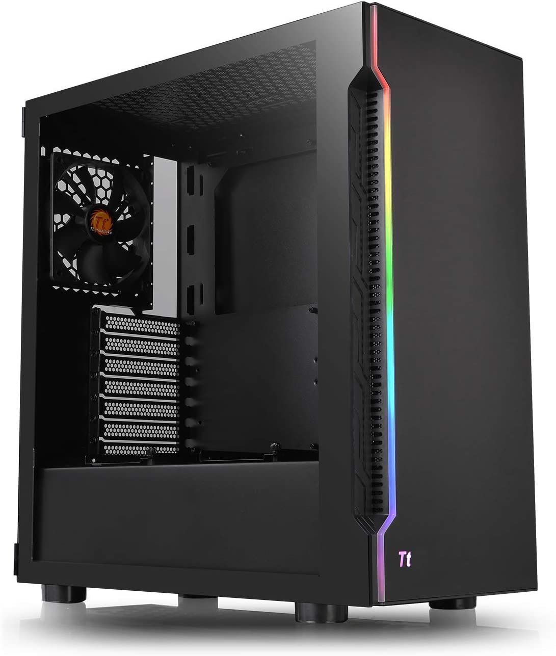 Thermaltake H200 Tempered Glass RGB Light Strip ATX Mid Tower Case with One 120mm Rear Fan Pre-Installed CA-1M3-00M1WN-03