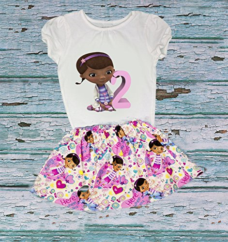 Baby Girls Girl outfit Doc McStuffins birthday outfit, Girl name age Doc outfit toddler name age outfit girl dress toddler baby age name (Doc Mcstuffins Birthday Outfit)