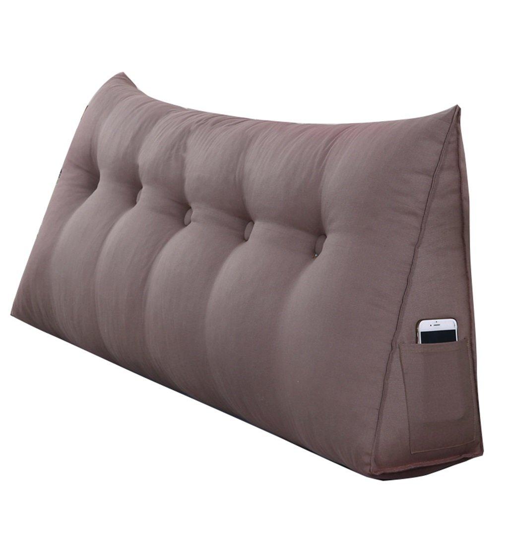 抱き枕 大きな三角形のウェッジピローは、背中のクッションと本の枕を読む枕として使用することができます腰のクッションの首の枕の背もたれベッドのベッドサイド(ブラウン) (サイズ さいず : 200 * 50 * 20cm) 200*50*20cm  B07FL4MH7N