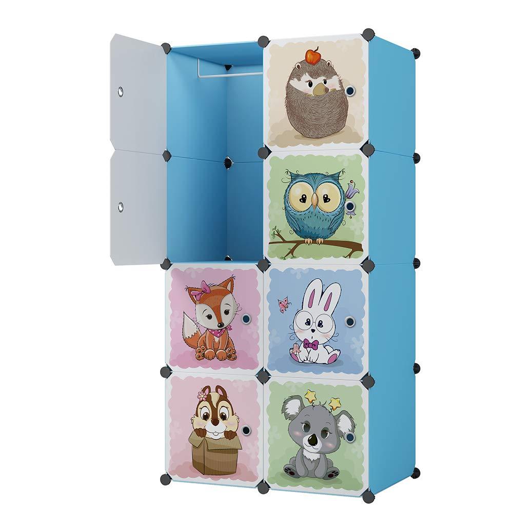 KOUSI Kids Closet Portable Kid Organizers Kids Dresser Portable Closet Wardrobe Baby Storage Organizer Children Bedroom Armoire Children Dresser Cube Organizer, 6 Cubes 1 Hanging Sections by KOUSI