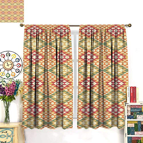 (Anniutwo Native American Blackout Curtain Colorful Geometric Ethnic Aztec Patterns South Mexican Traditional Folk Art Blackout Window Curtain Multicolor W72 x L63)