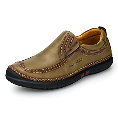 Men's Slip Ons Loafers Casual Driving Shoes Cow Suede Soft Flats Brown QIANLING COLLECTION 9
