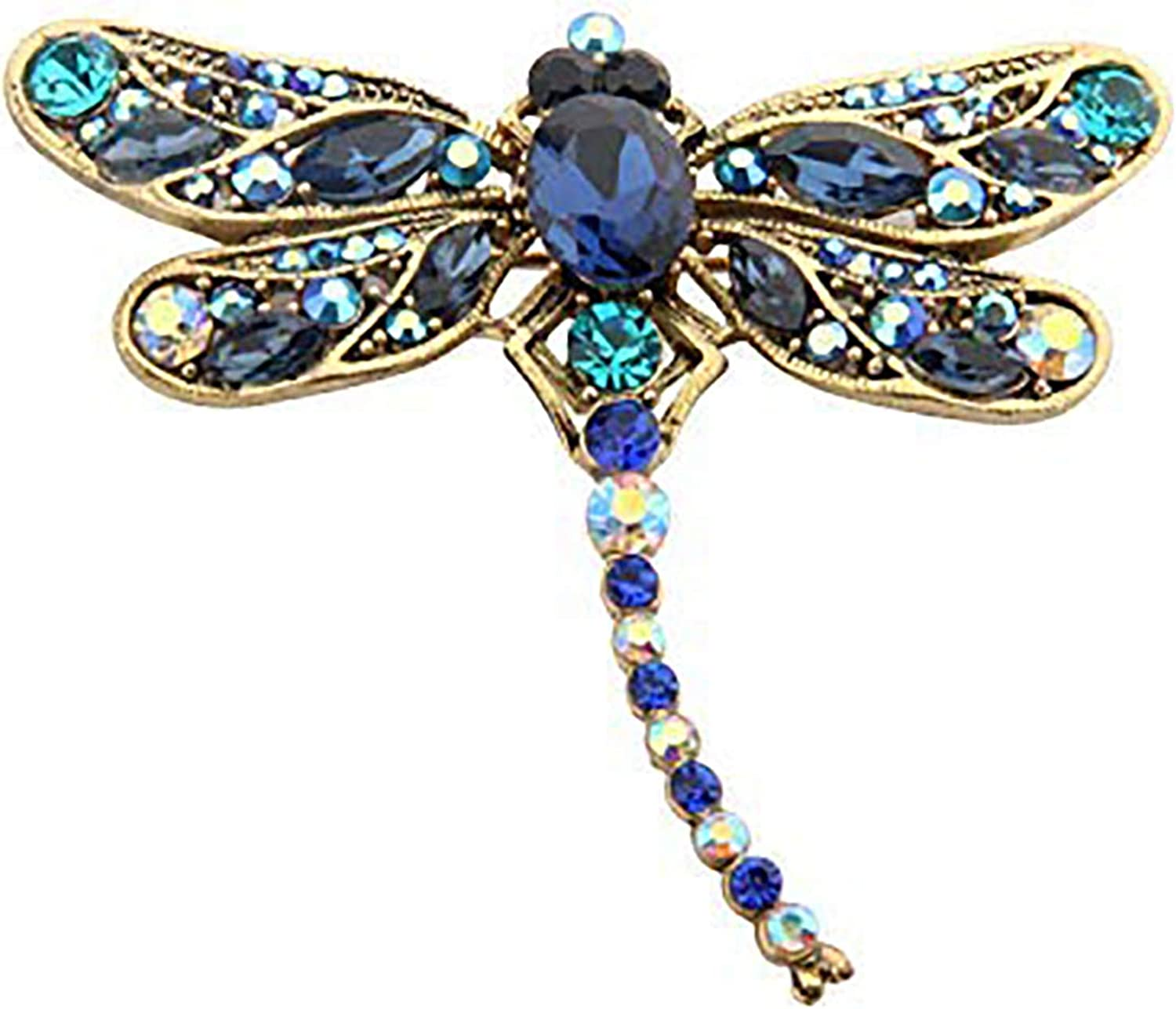 FEELMEM Colorful Dragonfly Brooch Pin Dragonfly Insect Animal Brooch Pin Crystal Rhinestone Scarf Pin Jewelry