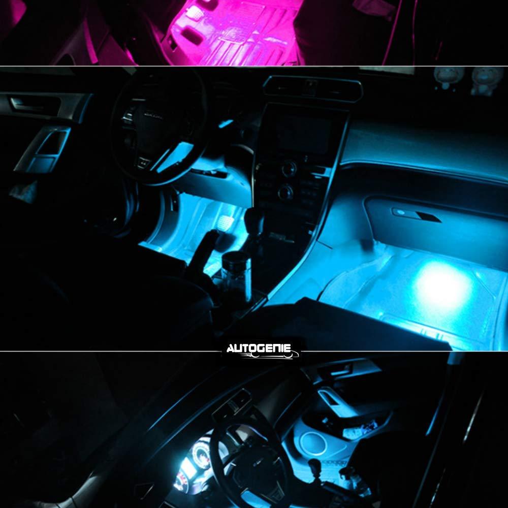 Autogenie NightVision LED Coche Iluminaci/ón interior ambiente multicolor luz RGB tira de coche encendedor de cigarrillos control remoto