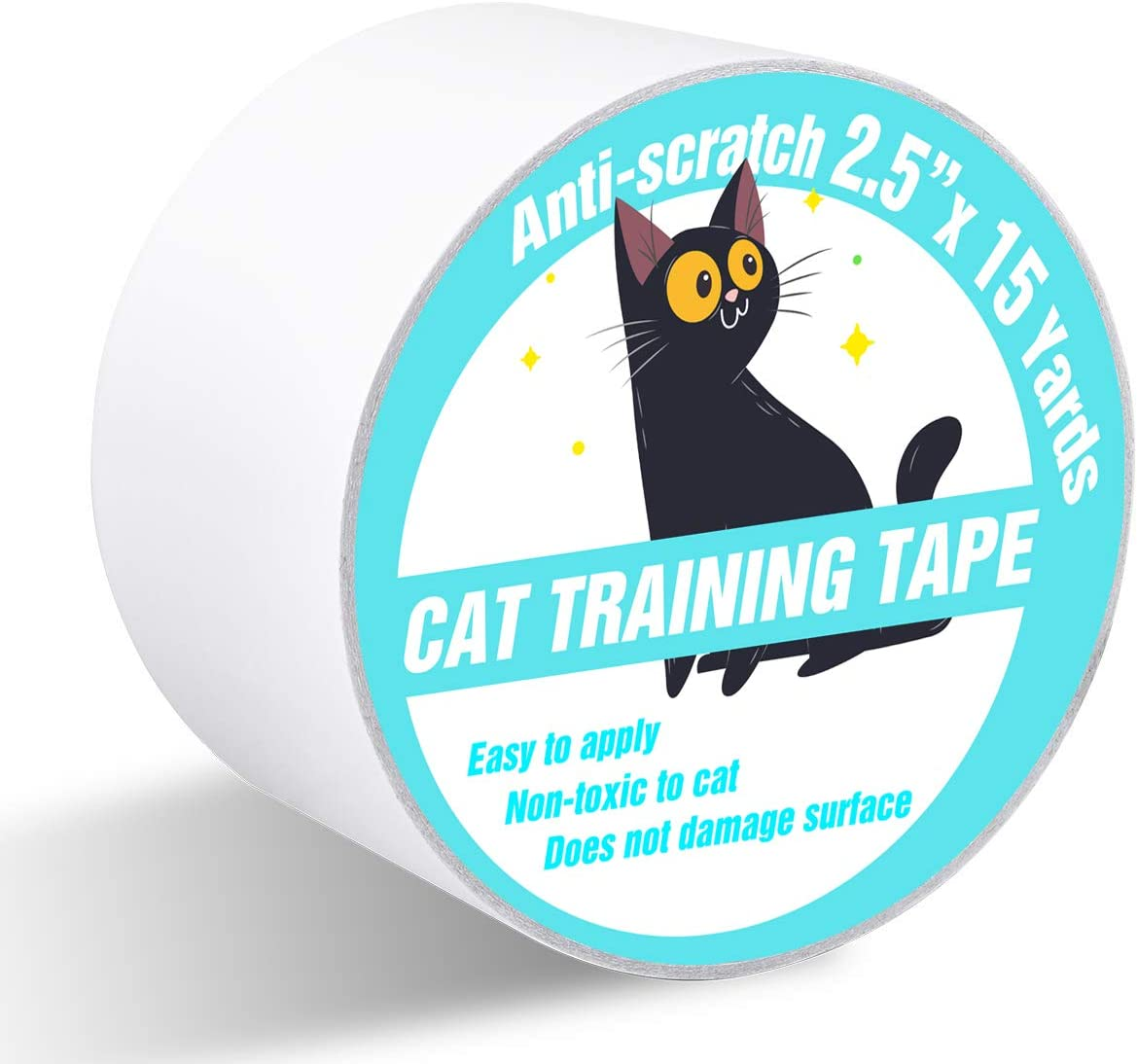 Polarduck Anti Cat Scratch Tape, 2.5 inches x 15 Yards Cat Training Tape, 100% Transparent Clear Double Sided Cat Scratch Deterrent Tape, Furniture Protector for Couch, Carpet, Doors, Pet & Kid Safe