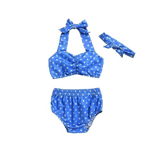 f9a51af6c98a 3Pcs Baby Girls Halter Bowknot Tube Top+Polka Dot Short Bottoms Bathing Suit  Swinwear Bikini