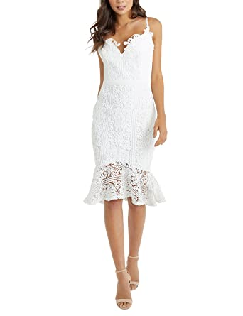 LIPSY Women Scallop Lace Flute Hem Midi Dress Cream US 0 (UK 4)