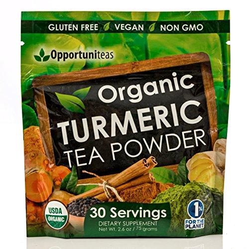 Organic Turmeric Tea Powder - Matcha Green Tea, Turmeric, Cinnamon, Ginger & Black Pepper - Natural Joint Support Supplement To Mix In Juice, Smoothie & Drinks - Vegan & Gluten Free - 30 Servings