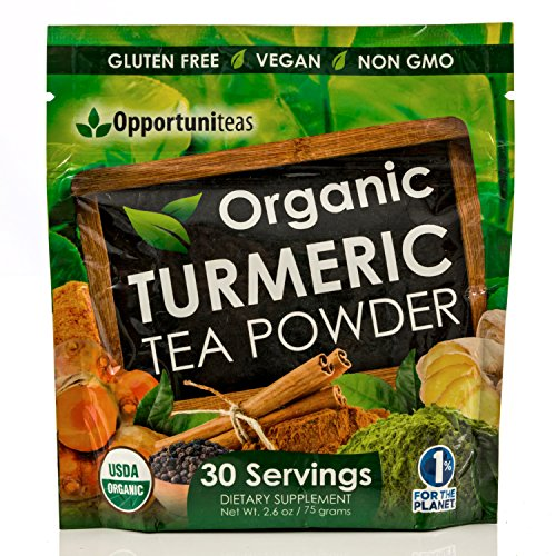 Organic Turmeric Tea Powder - Matcha Green Tea, Turmeric, Cinnamon, Ginger & Black Pepper - Natural Joint Support Supplement To Mix In Juice, Smoothie & Drinks - Vegan & Gluten Free - 30 Servings