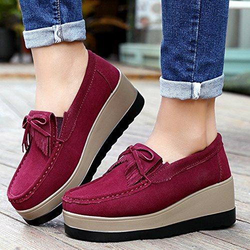 Enllerviid Enlleviid Femmes Slip-on Daim Conduite Mocassins Plateforme Mocassins Confort Marche Chaussures De Travail 912 Vent Rouge