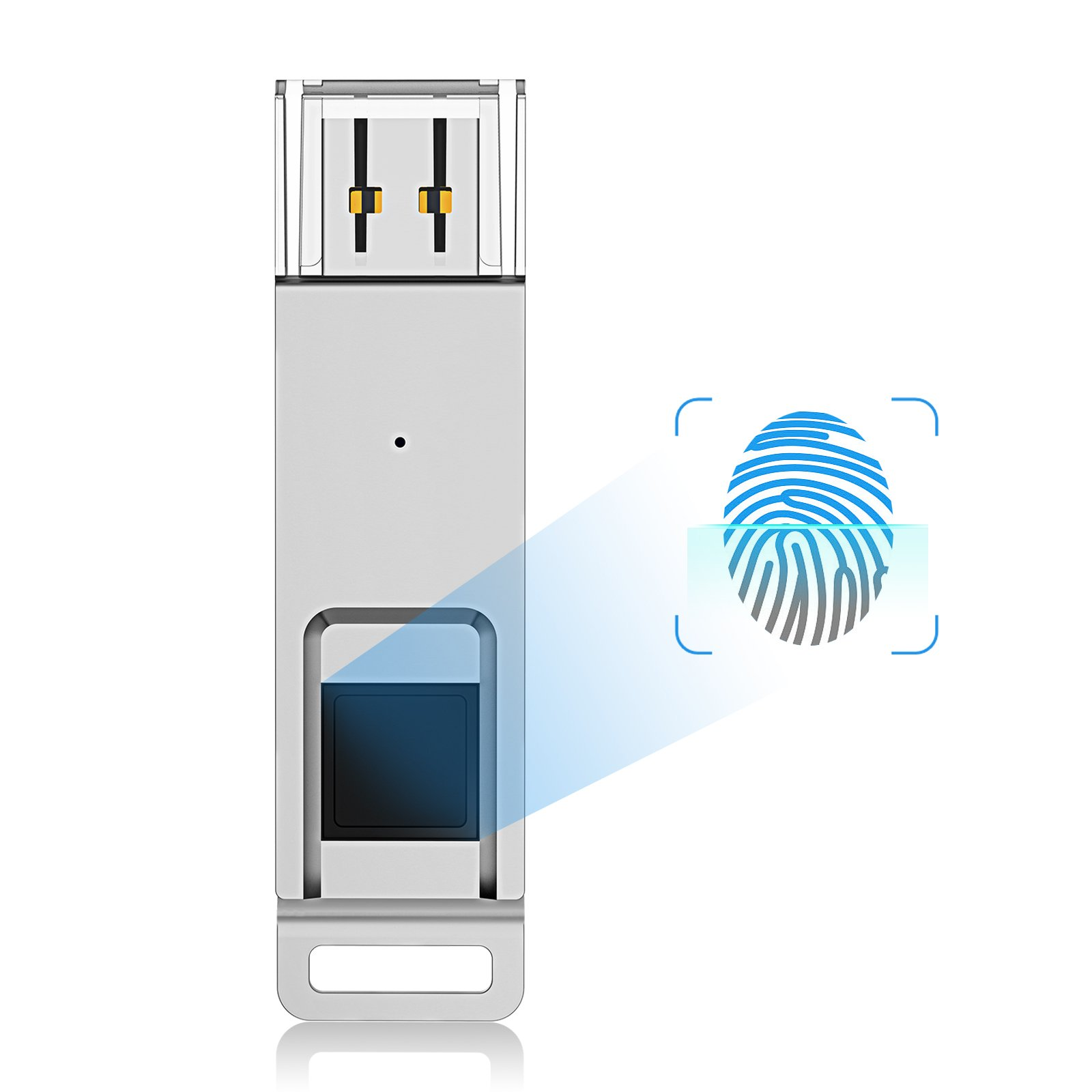 JUANWE Fingerprint USB Flash Drive 64GB, High Speed Recognition Encrypted USB 3.0 Security Protection Memory Stick - Silver