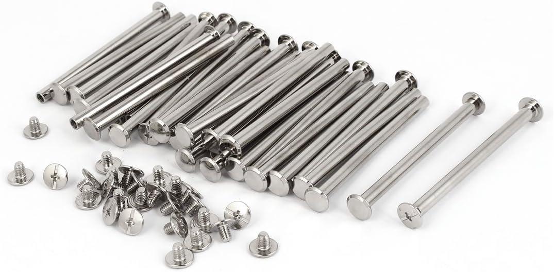 sourcingmap/® M5 x 70mm Tornillos Chicago Enlace Metal tono Plata Puestos 30pcs para bolso Correa