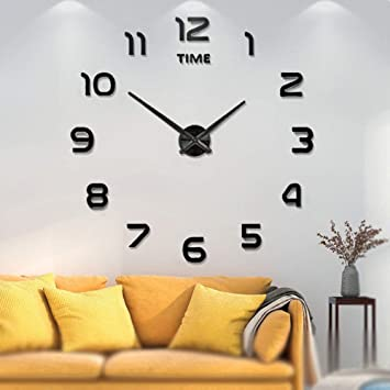 Amazon.com: Reloj de pared sin marco, grande, 3D, con espejo ...