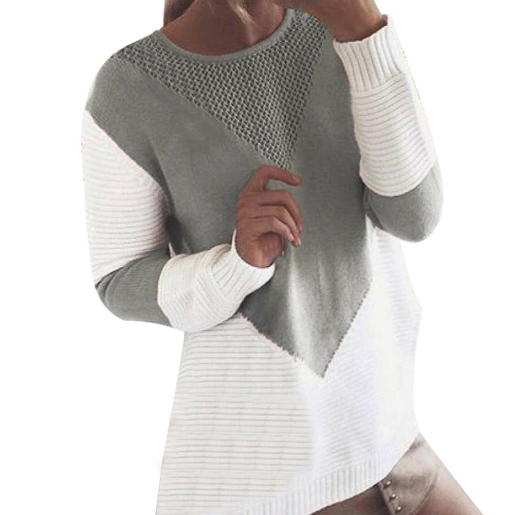 Tianya Girl Women Long Sleeve Sweater Casual Color Block Warm Sweatshirt Loose Hit Knitted patchwork Pullover Autumn Winter Sweater Tops Blouses