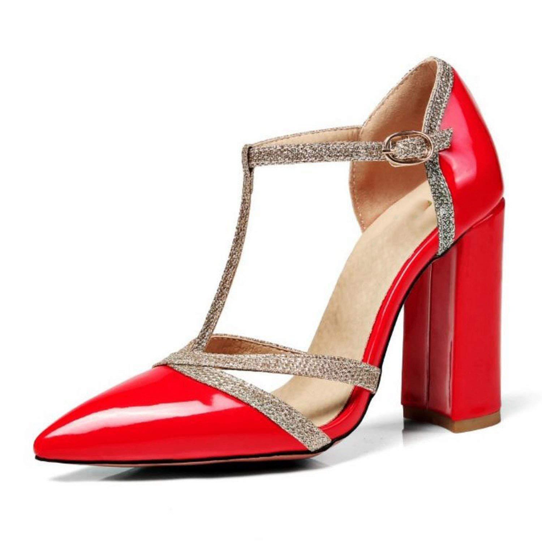 Red shine-hearty Sexy Lady High Heel Sandals Women Ankle Strap Buckle Sandal Office Summer shoes Women Footwear