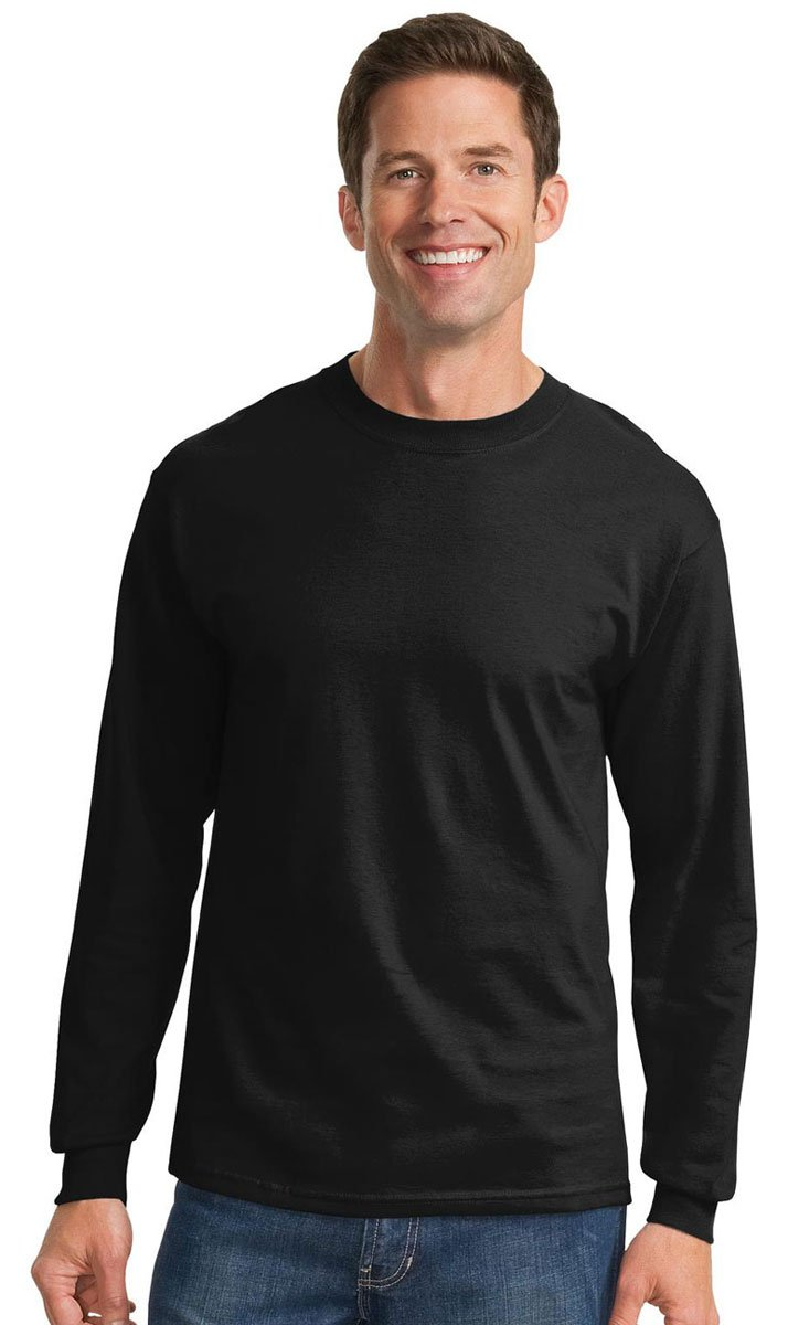Port & Company Men's Tall Long Sleeve Essential T Shirt 2XLT Jet Black